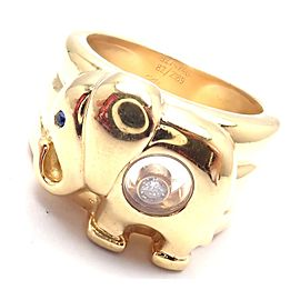 Chopard 18k Yellow Gold Happy Diamond Elephant Wide Band Ring