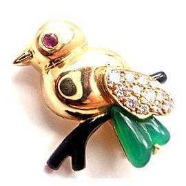 Cartier 18k Yellow Gold Diamond Onyx Ruby Chalcedony Bird Pin Brooch