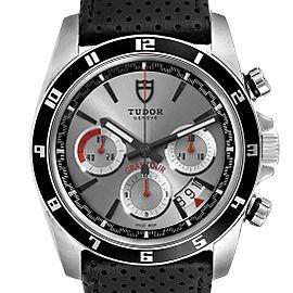 Tudor Grantour Silver Dial Chronograph Steel Mens Watch 20530N Box Card