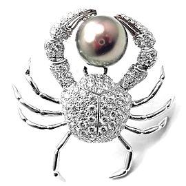 Tiffany & Co Platinum Crab 2.70ct Diamond Pearl Pin Brooch