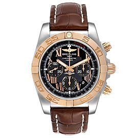Breitling Chronomat Evolution Black Dial Steel Rose Gold Mens Watch CB0110