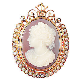 14K Yellow Gold With Carnelian Cameo and Pearls Brooch