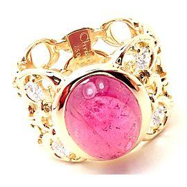 Christian Dior 18k Yellow Gold Diamond Large Pink Tourmaline Band Ring