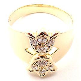 Rare! Authentic Christian Dior 18k Yellow Gold Diamond Flower Tulip Band Ring