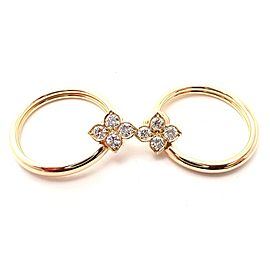 Cartier Hindu 18k Yellow Gold Diamond Floral Design Hoop Earrings