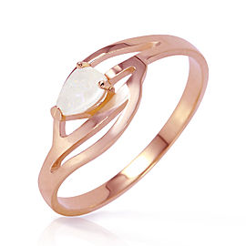 14K Solid Rose Gold Ring with Natural Opal