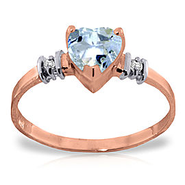 14K Solid Rose Gold Ring withNatural Aquamarine & Diamond