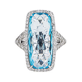 Elegantly Stylish 14k White Gold 13.69 Ct. Blue Topaz & Diamond Ring