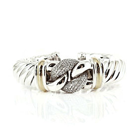 David Yurman Sterling Silver 18K Yellow Gold 1.10tcw 15mm Diamond Waverly Belmont Hinged Cuff Bracelet