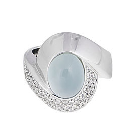 Mystique And Elegant 18k White Gold Cabochon Cat's-eye Aquamarine & Diamond Ring