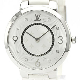LOUIS VUITTON Tambour Slim Diamond Quartz Mens Watch Q1E01 #HK-403