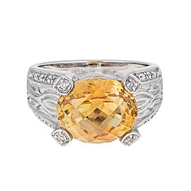 Attractive And Unique 14k White Gold Citrine And Diamond Ring