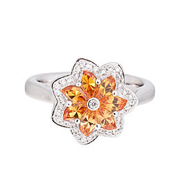 Delicate Flowercrafted 18k White Gold Mandarin Sapphire And Diamond Ring