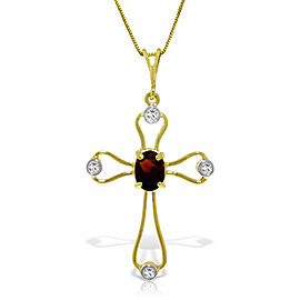 0.57 CTW 14K Solid Gold Cross Necklace Natural Diamonds Garnet