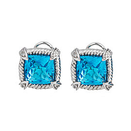 Simplicity And Elegance - 14k White Gold Blue Topaz & Diamond Earrings