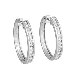 14k White Gold Diamond Channel Set Hoop Earrings