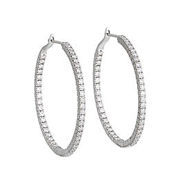 18k White Gold Diamond Round Hoop Earrings