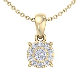 Classic halo pendant in 14K gold with white diamonds of 0.17 ct in weight