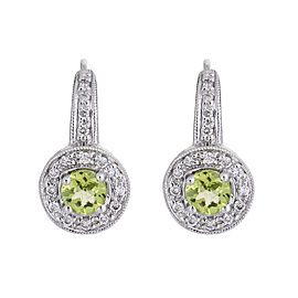 Sweetly Shimmering 14k White Gold Peridot Diamond Earrings