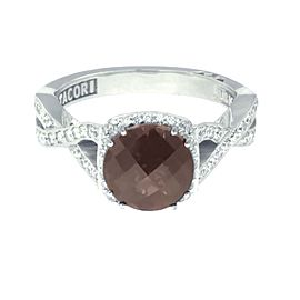 Tacori 18K White Gold Smoky Quartz .52ctw Diamond Ring Size 6.25