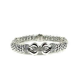 Lagos Sterling Silver 0.48tcw Derby Diamond Caviar Buckle Bracelet