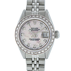Rolex Ladies Datejust 6916 Stainless Steel & 18K White Gold Mother of Pearl Diamond 26mm Womens Watch