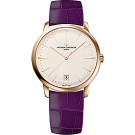 Vacheron Constantin Patrimony 4100U/001R-B180 18K Rose Gold & Leather with Silver Dial 36mm Womens Watch