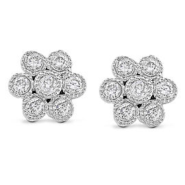 Diamond Floral Stud Earrings 1/6 Carat (ctw) in 14k Gold - white-gold