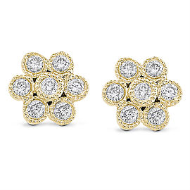 Diamond Floral Stud Earrings 1/6 Carat (ctw) in 14k Gold - yellow-gold
