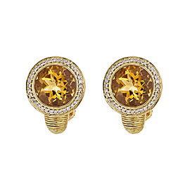 Infinitely Lovely 18k Yellow Gold Citrine And Diamond Earrings