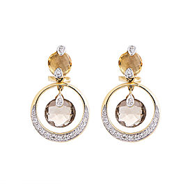 14k Yellow Gold Smoky And Golden Quartz Diamond Dangle Earrings