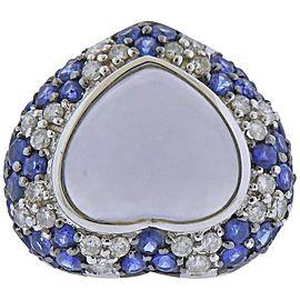 Heart Chalcedony Diamond Sapphire Gold Ring
