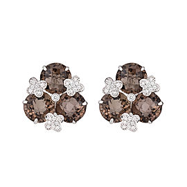 18k White Gold Smoky Quartz Diamond Earrings