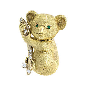 18k Yellow Gold Florentine Koala Bear On Limb Brooch/Pendant