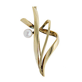 Ladies 14k Yellow Gold Free Form Cultured Pearl Brooch