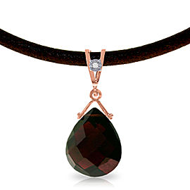 14K Solid Rose Gold & Leather Necklace withDiamond & Garnet