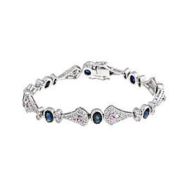 Exquisite 18k White Gold Sapphire And Diamond Bracelet