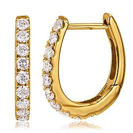 18K Rose Gold with Diamond Hoop Earrings