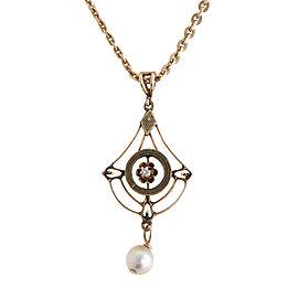 14K Yellow Gold Vintage Pearl & Diamond Pendant