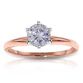 14K Solid Rose Gold Solitaire Ring with 0.75 CTW Natural Diamond