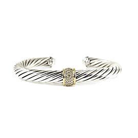 David Yurman Sterling Silver 18K Yellow Gold .21tcw 7mm Pave Diamond Cable Classics Bracelet