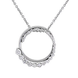 Lovely Modern 14k White Gold 0.58 Ct Diamond Circle Pendant