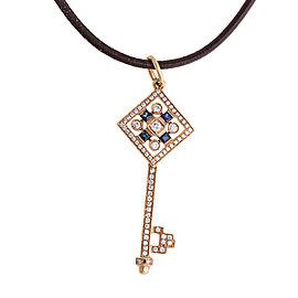 18k Rose Gold Blue Sapphire & Diamond Key Pendant