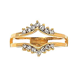 14K Yellow Gold Diamond Guard Rin