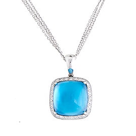 Romantic 14k White Gold Cabochon Blue Topaz & Diamond Pendant