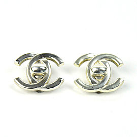 Chanel Silver Tone Metal CC Earring