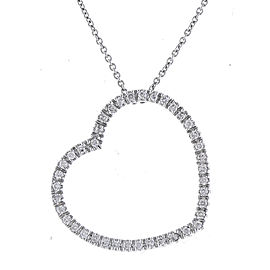 Romantic Heart-shaped 14k White Gold Diamonds Pendant