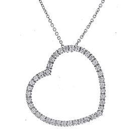 Romantic Heart-shaped 14k White Gold Diamonds Pendant