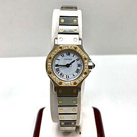 CARTIER SANTOS OCTAGON Automatic 18K Yellow Gold & Steel DIAMOND Bezel Ladies Watch
