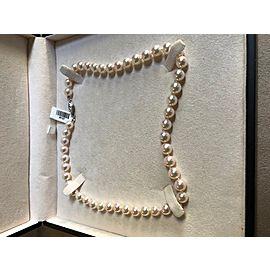 Blue Nile 18K White Gold Cultured Akoya Pearl & Diamond Necklace